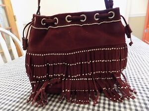 Image is loading Mossimo-Supply-Company-Leather-Fringe-Crossbody-Purse -Burgandy ef426f4cd5a80