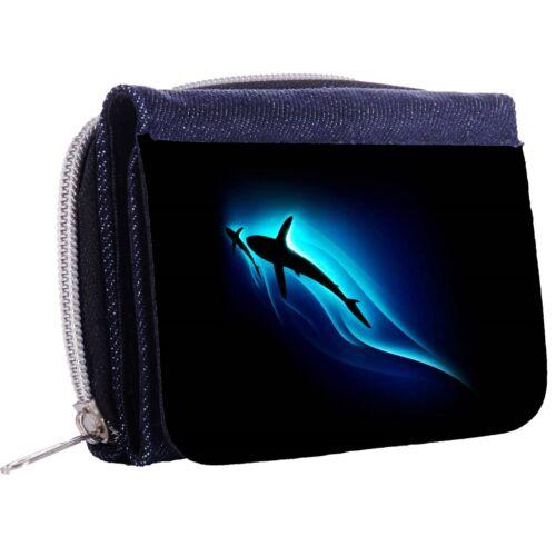 Shark After A Smaller Fish Denim Tri-Fold Half Wallet w// ID Window Button