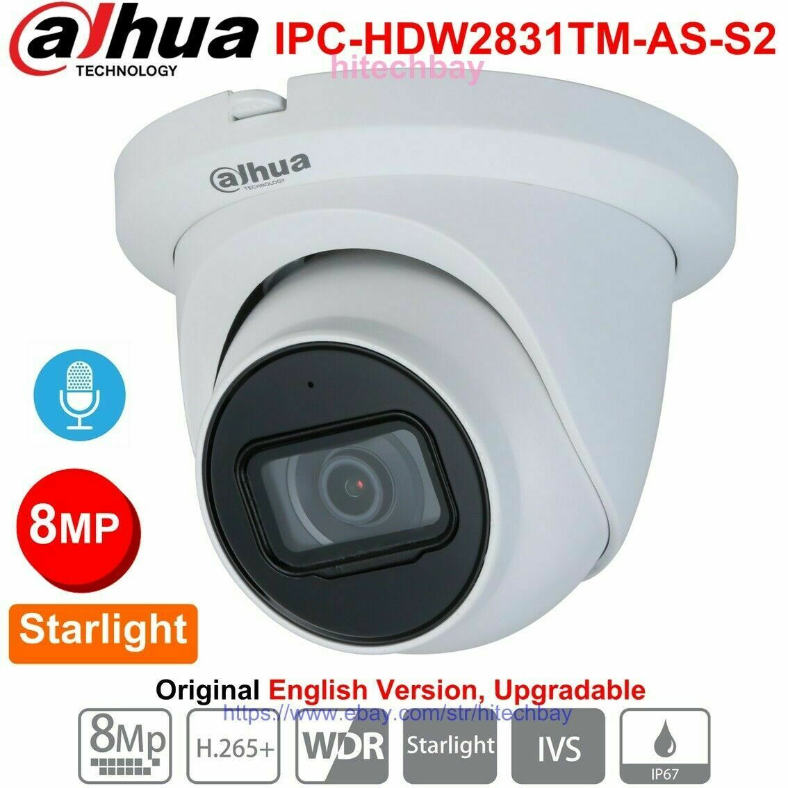 Dahua 4MP IP67 POE IR IPC-HDW4431EM-ASE Mic Eyeball Camera Smart Detection WDR