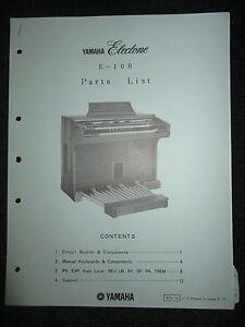 Yamaha Electone E-10R Part List Catalog Manual E10R 1975 Parts