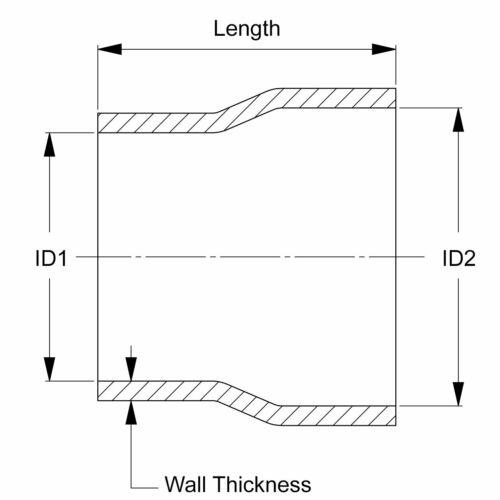 "HPS 1-3//8/"" 2/"" ID High Temp 4-ply Black Silicone Reducer Coupler Hose 3/"" Length"