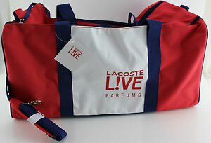 Lacoste-Perfums-Duffle-Travel-Bag-White-Red-Navy-Blue-New-with-tags-LARGE