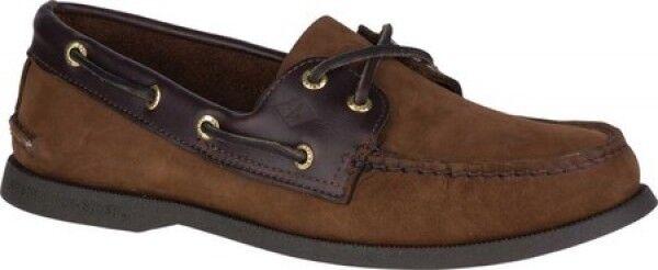 NEW Mens Sperry Top-Sider Marroneee Dark Marroneee Leather Authentic Original Boat scarpe