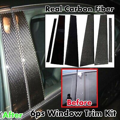 04~10 BMW E60 5 Series Black Carbon Fiber Door Trim Pillar Panel 6pcs 530 550 M5