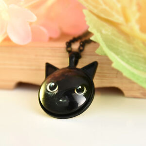 Pet Lovers Painting Black Cat Chain Necklace Cat Pendant With Ears Jewelry