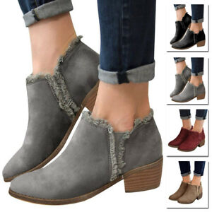 70f57c693f4 Women s Casual Booties Low Heels Block Ankle Boots Slip On Round Toe ...