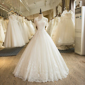 White/ivory Lace Wedding Dresses Ball Bridal Gowns Custom Plus Size ...
