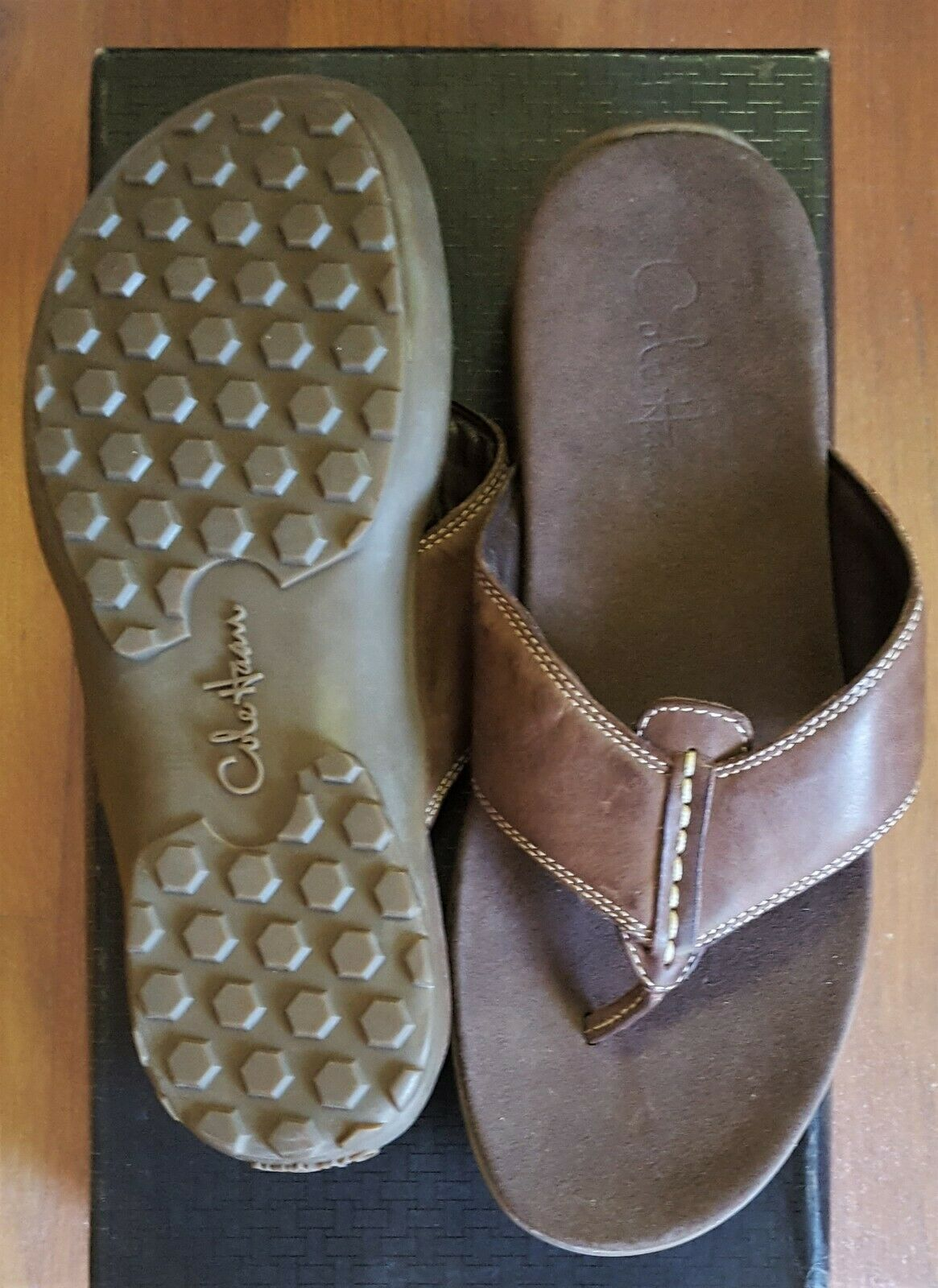 Cole Haan Tucker Thong Brown Leather Slides Sandals Mens 8