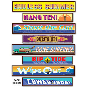 8-Luau-Party-Surfer-Street-Sign-Cutouts-Backdrop-wall-mural-prop-DECORATIONS