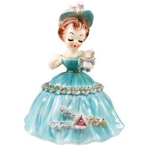 Arnart Cherchez La Femme Girl Figurine Blue Dress Roses 7616 Japan Kitsch Vtg