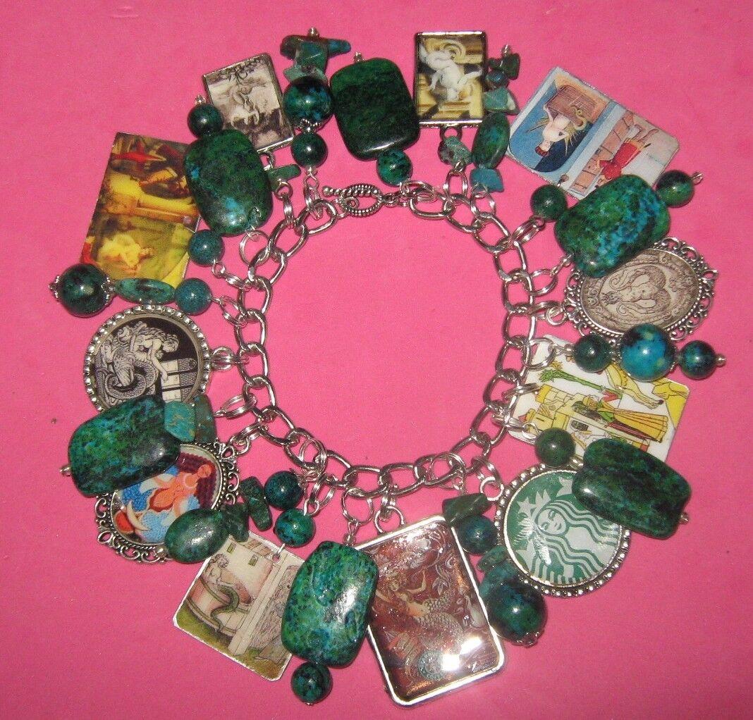 Melusine-Mermaid Goddess- Altered Art Charm Bracelet-Handmade-OOAK