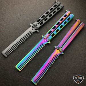 Details about High Quality Practice BALISONG METAL Comb BUTTERFLY Trainer  Brush Knife Blade