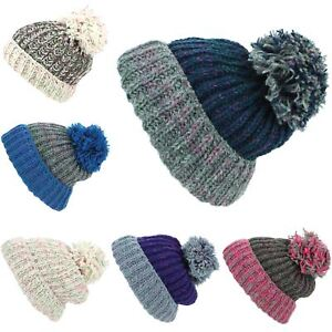 794c58759ae0 Beanie Hat Wool Cap Bobble Warm Winter Ribbed Lined LoudElephant ...