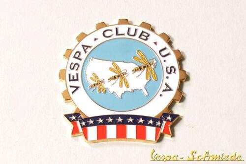 "VESPA Metall-Plakette /""Vespa Club USA/"" Klub US America Amerika Emblem Emaille"