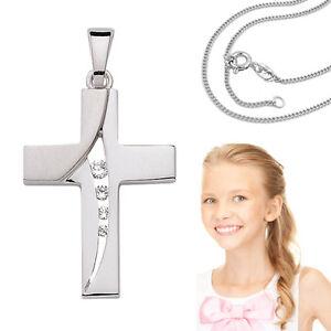 Baby Taufe Kinder Kommunion Firmung Kreuz Anhänger mit Kette Echt Silber 925 Neu