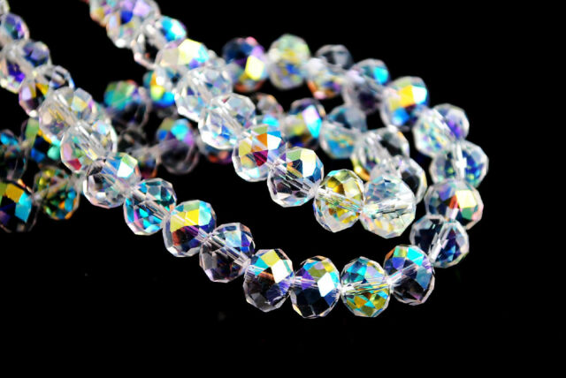 30Pcs Clear ABx1 Faceted Crystal Glass Rondelle Loose Beads Spacer 8x6mm Charms
