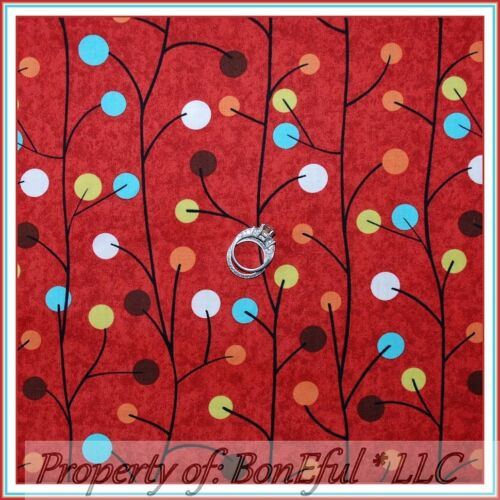 BonEful FABRIC FQ Cotton Red Rooster Kitchen Brown Aqua Green Tree Dot US Flower