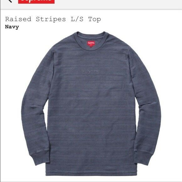 Supreme classic logo raised longsleeve tee  medium navy