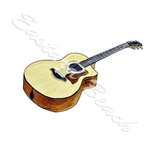 ACOUSTIC GUITAR MUSIC INSTRUMENT AUTO BOAT RV HIGH QUALITY VINYL DECAL STICKER