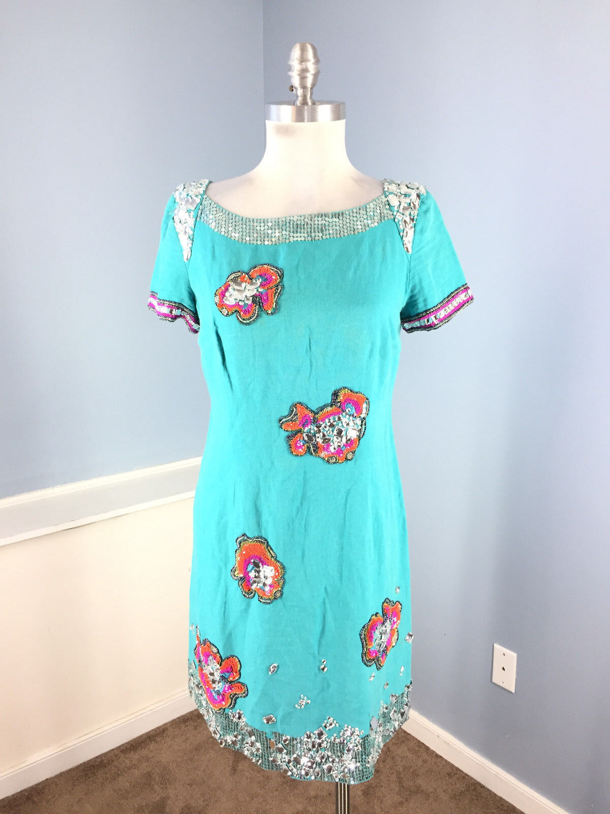 French Connection S 6 8 Lyndsey Linen Turquoise Sequin Floral dress Embellished
