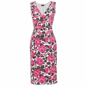 Eight Dress Uk Print Pink Sz Floral Brown Betty New Phase White 10 5qwBB8