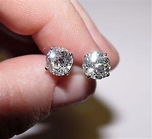 3 48ct Tw Old Mine Cut Diamond Stud Earrings 14k All Natural Ebay