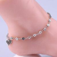 Women Foot Jewelry Silver Bead Chain Anklet Ankle Bracelet Barefoot Sandal Beach