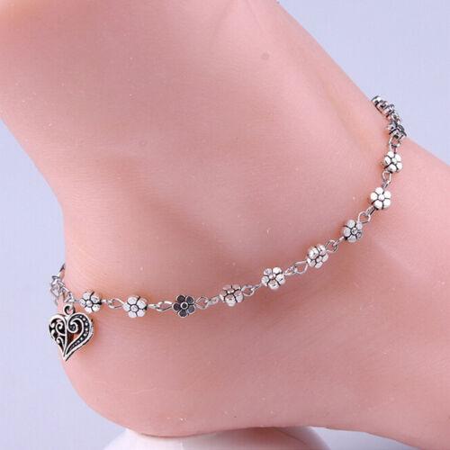 LuckyJewelry Chain Love Heart Ankle Bracelet Sterling Silver Anklet Barefoot Sandal Beach Foot
