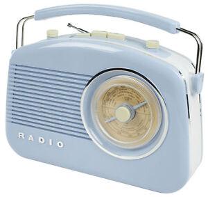 Baby Blue Vintage Retro AM/FM Portable Radio 1950's Design - High Quality Sound