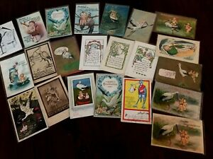 Cute-Lot-of-22-Vintage-Greetings-Postcards-with-Storks-Baby-Announcements-s274