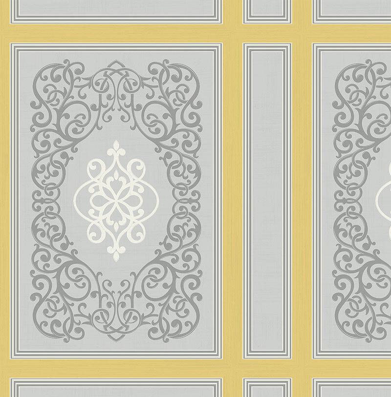 Tapete, Designtapete, Ornamente, Streifen, Fliesen, Grau, Ecru, Maisgelb, Glanz