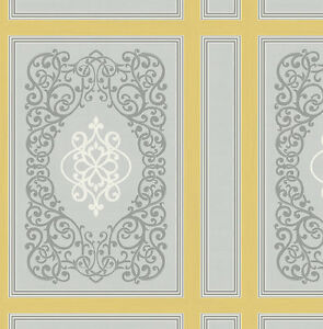 Tapete-Designtapete-Ornamente-Streifen-Fliesen-Grau-Ecru-Maisgelb-Glanz