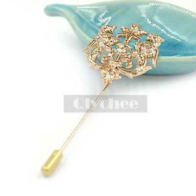 1  Pc Men Gold Double Wing Lion Crown Lapel Stick Pin Tie Hat Scarf Brooch Badge
