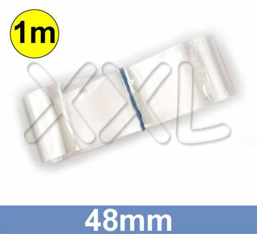 30mm rund PVC Schrumpfschlauch transparent 1m ENDLOSWARE 48mm flach