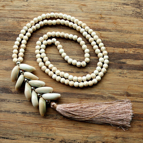White Stone Bead Necklace With Handmade Natural Shell Tassel Long Necklace New