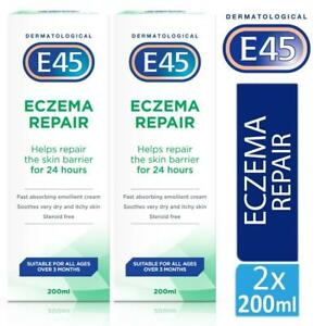 2 x E45 Dermatological Eczema Repair Cream 200ml Soothes Very Dry & Itchy Skin