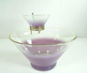 WV-Glass-Blendo-Frosted-Pastel-Purple-Chip-amp-Dip-Set-Golden-Bracket-Mid-Century