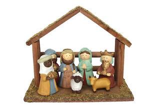 Decorazioni In Legno Per La Casa : Gisela graham decorazioni natalizie ceramica natività set con in