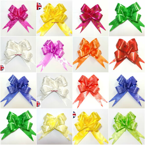 50 LARGE RIBBONS Bows assorted colour easy pull flowers ribbon party decoration