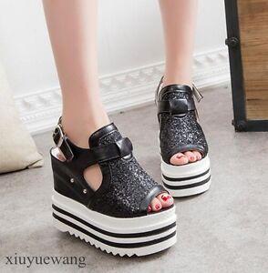 Womens-Peep-Toe-Buckle-High-Platform-Wedge-Heel-Slingback-Sandals-Punk-Shoes-SZ