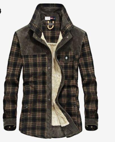 Mode Hommes Chemise Coton En Lâche Épais Plaid Longues Robe Chaud Manches Flanelle De À Polaire 7fwq57