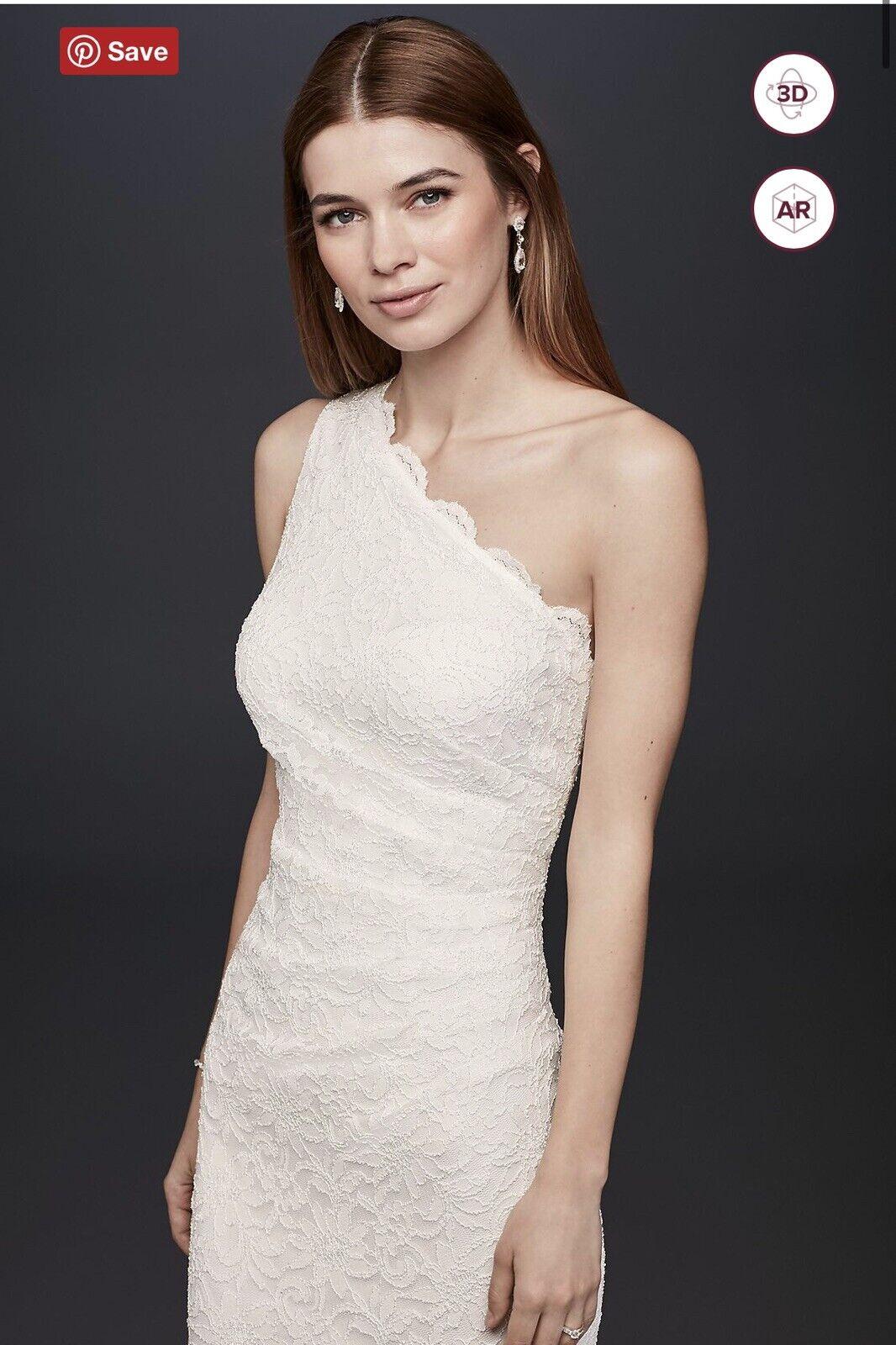 davids bridal wedding dress size 10 Scalloped One-Shoulder Lace Sheath Gown