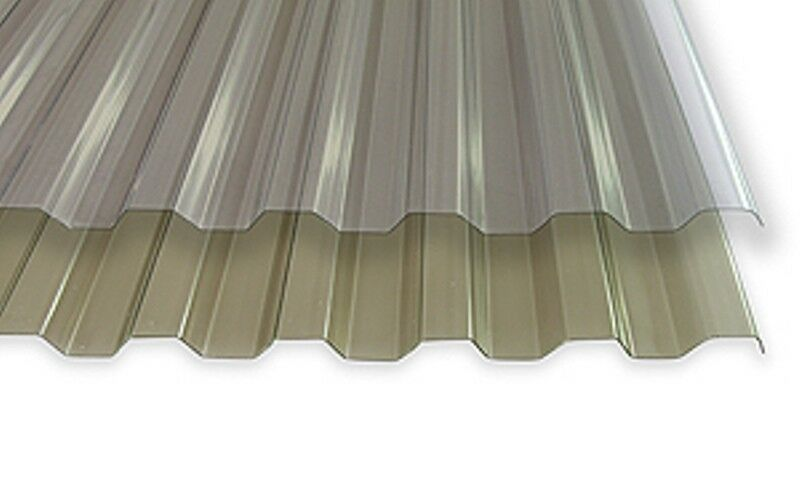 m²   PVC Standard Spundwand-Lichtplatte Trapez 70 18   klar-bläulich