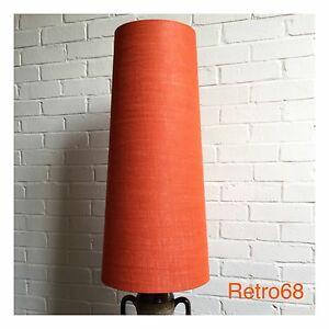 Oversized-70s-Style-Orange-Hessian-88cm-Tall-Conical-Lampshade-Fat-Lava
