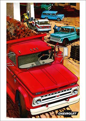 CHEVROLET TRUCKS & PICKUP RANGE RETRO A3 POSTER PRINT FROM CLASSIC 60's ADVERT