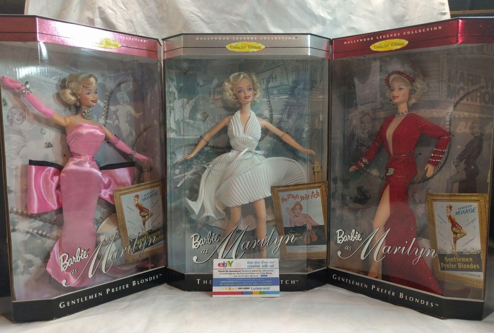 Los Caballeros las rubias prefieren Marilyn Monroe Rojo rosado siete años picor Muñeca Barbie 3