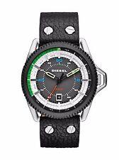 New Diesel DZ1717 Rollcage Black Leather Strap Men's Watch in Original Box