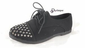 NEW-Women-039-s-Fashion-Oxfords-Flat-Shoes-Studded-Spike-Lace-Up-Round-Toe-Size-5-10