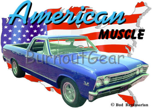 1967 Blue Chevy El Camino Custom Hot Rod USA T-Shirt 67 Muscle Car Tees