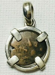 Ancient Widows Mite Bronze Coin Sterling Silver Pendant #48